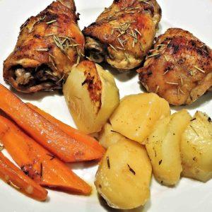 coscio di pollo in padella con patate